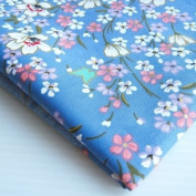 Asian Janpanese Kimono Fabric Lovely Blue White Pink Sweet Sakura Butterfly 90cm by 90cm Wide (1 Yard)