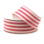 Striped Cotton Ivory Ribbon, 2.5cm - 1.3cm , 25-yard