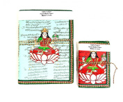 Yapree Handmade Paper Journal Diary with Mantra and Painted Goddess Laxmi Cover : Set of 2