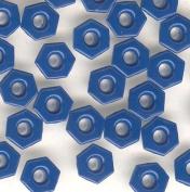 0.3cm Saphire Blue Top Painted Aluminium Hexagon Eyelets - 50 Pack
