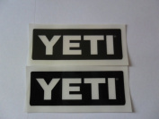 YETI coolers 7.6cm X 3.8cm clear on black Vinyl decal weather proof 2 bike stickers