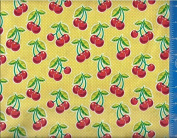 110cm Wide Fabric, Cherries (Yellow Polka Dot) Fabric By the Yard