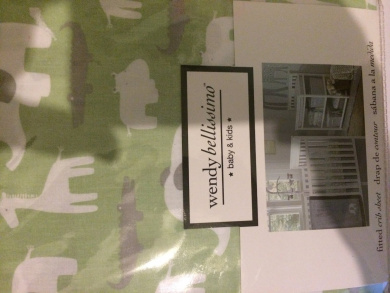 Wendy Bellissimo Fitted Crib Sheet Safari Green Grey Print 100% Cotton