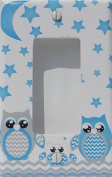 Grey and Blue Owl Light Switch Plate Covers Single Toggle and Owl Outlet Covers / Owl Nursery Decor