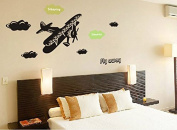 Aeroplane Wall Decal Home Sticker Paper Removable Living Dinning Room Bedroom Kitchen Art Picture Murals DIY Stick Girls Boys kids Nursery Baby Playroom Decoration PP-DLX9008
