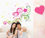 Amaonm® Hot Fashion Removable Diy Nursery Pink Red Love Heart Flowers Vines Wall Decals Stickers Murals Peel Stick for Bedroom Living Room Tv Background Decorations