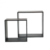 nexxt Cube Series Espresso Display Cubes with Unique Thin Profile, Set of 2