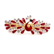 So Beauty Women's Peacock Showing off Tails Shaped Rhinestone French Barrette Hair Clip Red