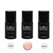 BMC 3pc Soft Peach Creamy Nude Coloured Nail Lacquer Gel Polish w/ Top Base Coat - Oasis Collection, Peaceful Harmony