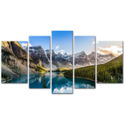 5 Pieces Modern Canvas Painting Wall Art The Picture For Home Decoration Moraine Lake And Mountain Range At Sunset In Canadian Rocky Mountains Landscape Mountain & Lake Print On Canvas Giclee Artwork For Wall Decor