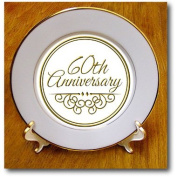 3dRose cp_154502_1 60th Anniversary Gift Gold Text for Celebrating Wedding Anniversaries 60 Years Married Together Porcelain Plate, 20cm