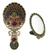 Ivenf Vintage Handheld Oval Make-Up Mirror, Large Spreading Tail Peacock, Bronze