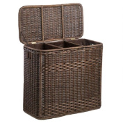 The Basket Lady 3-Compartment Wicker Laundry Hamper One Size (size 0) Antique Walnut Brown