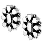 Sterling Silver Oxidised Raised Mosaic Earrings