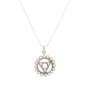 Throat Chakra Necklace in Sterling Silver on 1mm Bead Chain, #6722