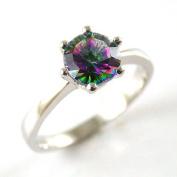 Mystic Quartz Solitaire Silver Ring