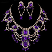Dazzling Bridal Statement Jewellery Set - Purple