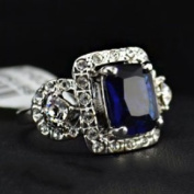 White Gold Sea Blue Zircon Ring