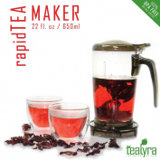 rapidTEA Loose Tea Maker - Tea Infuser Teapot - #1 Best Tea Maker Makes a Perfect Cup of Tea - Bottom Dispensing Teapot - Dripping Free Guarantee - 22 ounce / 650ml