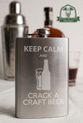 Keep Calm and Crack a Craft Beer 240ml Stainless Steel Flask