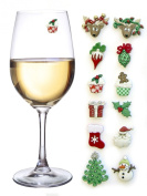 Christmas Magnetic Wine Glass Charms & Markers Set of 12