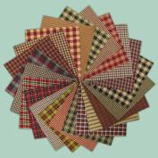40 Rustic Christmas Charm Pack, 15cm Precut Cotton Homespun Fabric Squares by Jubilee Creative Studio