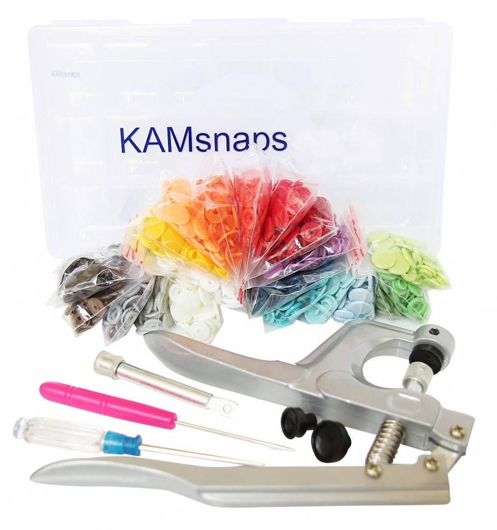 Starter Pack 21 Colours, 210 Complete KAM Plastic Snaps & KAMsnaps Fastener  Pliers Press Setter in Organiser Carry Case