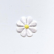 Small White Daisy Iron on Embroidered Patch