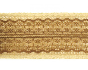 Trimweaver 2-Yard Natural Burlap with Brown Lace Ribbon for Craft, 6.4cm