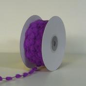 25 Yards Fuzzy Pom Pom Wired Trim Ribbon Lace - Purple