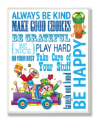 The Kids Room by Stupell Wall Decor, Always Be Kind Blue Clowns Kids Room Décor And Wall Art