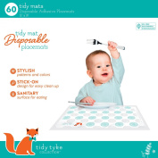 Tidy Tyke Collection 60ct Disposable Adhesive Placemats For Toddlers and Children! ✮ Large 30cm X 46cm Plastic Sticky Mats Perfect for Restaurants ✮ Environmentally Friendly and BPA Free ✮ Stylish Designs That Quickly A ..