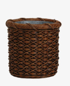 The Basket Lady Round Wicker Waste Basket with Metal Liner One Size (size 0) Antique Walnut Brown