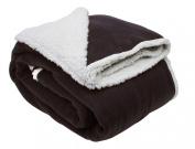 J & M Home Fashions Solid Polar Front/Sherpa Back Fleece Blanket, 230cm x 230cm , Chocolate