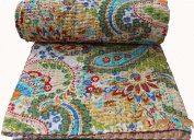 Mango Gifts Pure Cotton Kantha Style Queen Size Quilt Bed Spread, Indian Gudri Bed Cover 150cm X 230cm Inches Approx