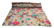 Bird Print Twin Size Kantha Quilt Beige, Kantha Blanket, Bed Cover, Twin Kantha bedspread, Bohemian Bedding Kantha Size 150cm x 230cm