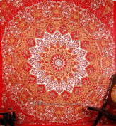 Kaleidoscopic Star Mandla Hippie Tapestries Wall Hanging , Indian Mandala Tapestry Bedspread , Dorm Tapestry , Vintage Decorative Wall Hanging , Traditional Tapestries for Dorms By Bhagyoday