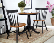 International Concepts 3-Piece 80cm Round Table with 2 Chairs in Black-Cherry Finish