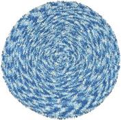 Shagadelic Chenille Twist Swirl Round Rug, 0.9m by 0.9m, Blue