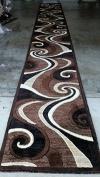 Modern Long Runner Area Rug Brown Swirl Americana Design 144