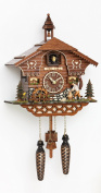 Quartz Cuckoo Clock Black Forest house with moving wood chopper and mill wheel, with music, incl. batteries TU 4217 QM