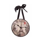 "Wall Clock - ""Paris/Eiffel Tower"" Vintage Images - by DCI"