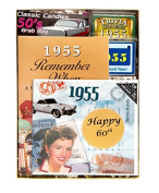 60th Birthday Gift for Men or Women - 60th Anniversary Time Capsule for 1955