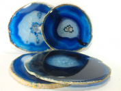 Agate Coaster Blue Coloured 10cm - 13cm Natural Beautiful Blue Crystal Gemstone Agate Coasters Gift Set of 4 with Feet