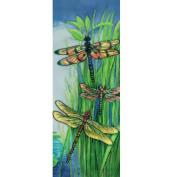 Continental Art Centre KD-099 15cm by 41cm Vertical Dragonflies Ceramic Art Tile