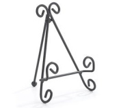 Black Metal Plate Stand with Scroll Design 15cm
