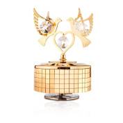 24k Gold Plated Love Doves Music Box Made with. Elements Crystals By Charming Temptations