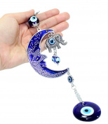 Turkish Blue Evil Eye (Nazar) Moon & Elephant Amulet Wall Hanging Home Decor Protection Blessing Housewarming Birthday Gift US Seller