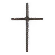 Metal Wall Cross 33cm - Black/Brown Twist Design