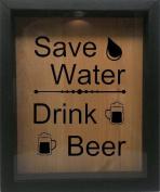 Wooden Shadow Box Wine Cork/Bottle Cap Holder 23cm x 28cm - Save Water Drink Beer